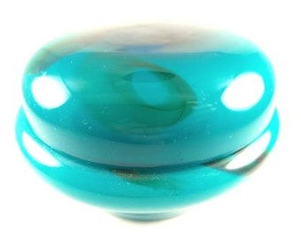 Murano Glass Covered Dish Marine Green with Blue Accents Excellent Collectors Piece