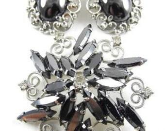 Vintage Brooch Earrings Set Hematite Silver Tone Metals Classic Rhinestone Jewelry