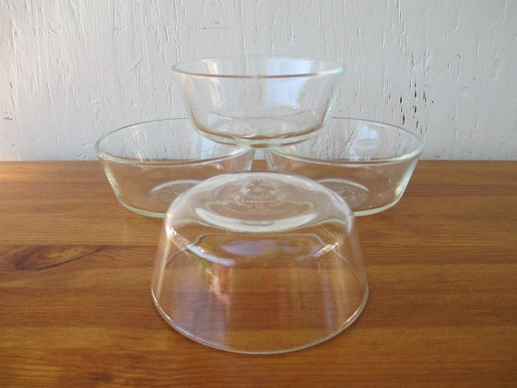 "Fire King Clear Bowls 4.5"" , Set of Four (4) for Cereal, salad, Deserts or Food Prep, Vintage 1960s"