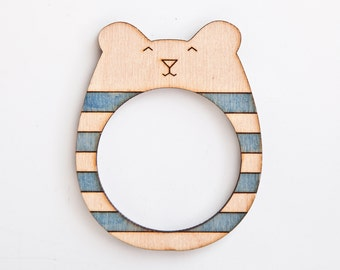 Wooden Photo Frame Magnets Funny Fridge Magnets Bear Picture Frame Blue Home Decor Cute Housewarming Gifts Baby Shower Gift