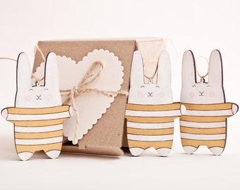 Christmas Decor Holiday Ornaments Bunny Xmas Decoration Rabbit Gold Home Decor New Year Gift Mom Gift