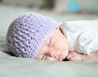 Newborn, 3-6 month, 6-12 month Baby Girl Faux Cable Crochet Hat Purple