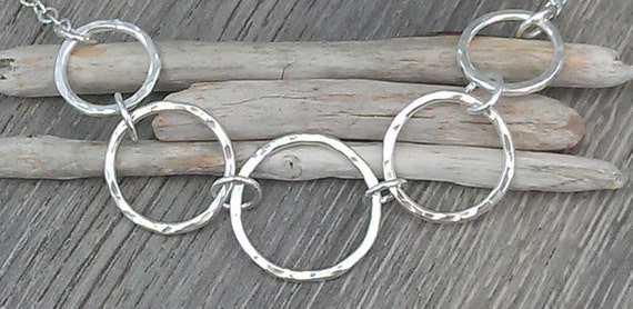 Five Circles Infinity Necklace - textured sterling silver hammered link necklace..  UK