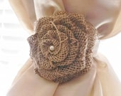 Burlap Rose Curtain Tie Back - Choose Your Size and Color - Rustic Curtain Tie Back