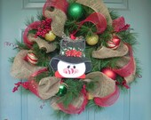 MAKE AN OFFER! Ready to Ship Sale! Burlap and Mesh Christmas Wreath - Snowman Wreath