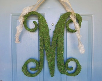 Moss Letter 24'' with Large Burlap Ribbon - Moss Monogram - Many Sizes and Fonts available