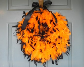Halloween Wreath - Black and Orange  or choose your colors