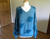 Hand Knit Pullover, Green Pullover with Angora, Handmade
