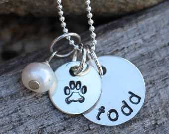 Hand Stamped Sterling Silver Personalized Pet Necklace with Paw Print