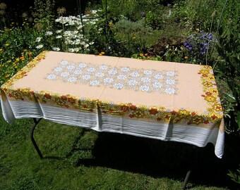 Vintage Rectangular Tablecloth, Retro Floral Cotton Tablecloth, Mid Century Flower Power Tablecloth, Vintage Table Linens