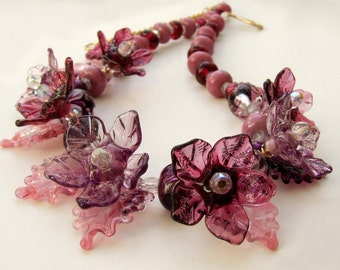 Lampwork Glass Necklace ,Delicate and Romantic wine shades, Pink  Flowers Necklace.  Unique Birthday Gift , MADE TO ORDER
