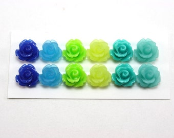 12 pcs Resin Flower Cabochons - 10mm Rose - Aquarium Colors Mix