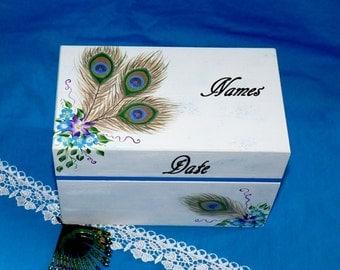 Elegant Wood Wedding Guest Book BOX Alternative Painted Wood Keepsake Box Personalized Custom Peacock Wedding Bridal Shower Gift