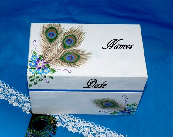 Elegant Wood Wedding Guest Book BOX Alternative Painted Wood Keepsake Box Personalized Custom Peacock