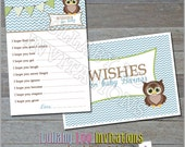 Owl Wishes for Baby Cards - Printed Baby Shower Invitations - Custom Invitations