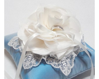 Wedding ring pillow -  Blue Ring Pillow, ivory ring pillow, blue wedding, wedding ring bearer pillow