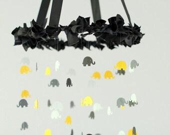 Black Nursery Mobile- Elephant Nursery Mobile in Yellow, Black, Gray & White; Modern Nursery Mobile Decor
