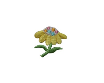 ID #6116 Yellow Flower Dotted Core Plant Iron On Embroidered Patch Applique