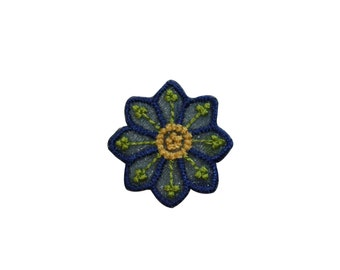 ID #6571 Exotic Blue Green Flower Blossom Iron On Embroidered Patch Applique