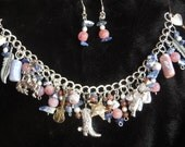 Western - Cowgirl - 1 of a kind - charm bracelet and earring set - fits up to 7.75 inch wrist - rustic red, white, and blue