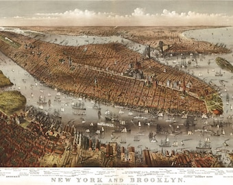 New York & Brooklyn Vintage Poster - 13x19 or 8.5x11 inches