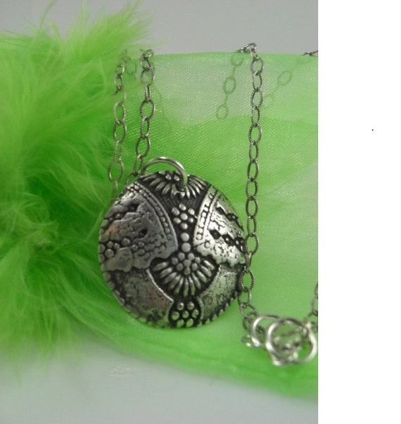 Silver pendent necklace PMC 3  999 percent pure Silver