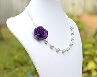 FREE EARRINGS Deep Purple Rose necklace, Purple and Light Grey Flower necklace, Purple Wedding Necklace, Purple Bridesmaid Necklace