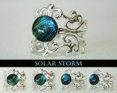 Solar Storm Color Shifting Silver Cuff Ring