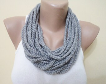 For Her Gifts, Scarf, Infinity loop scarf, crochet scarf, handmade women scarf, scarves, accessories, Grey scarf, Hnadmade Necklace