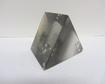 Parlour Resin Square Chunky Handmade Statement Ring Charcoal with Silver Flecks