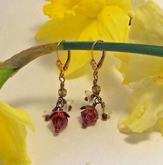 StrawBerry Blossom Earrings: Swarovski Crystal and Czech Glass Drop Earrings..Valentine Pink