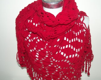 red crochet shawl christmas gift accessories crochet shawl gift for her