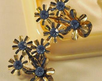 Vintage Golden Brass and Blue Rhinestone Flower Earrings - Elegant