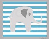 NURSERY PRINT ELEPHANT Print- Kids Room Stripes Elephant Print - Child Elephant Animal Wall Art Print - Blue White Grey Colors, 8x10 inch