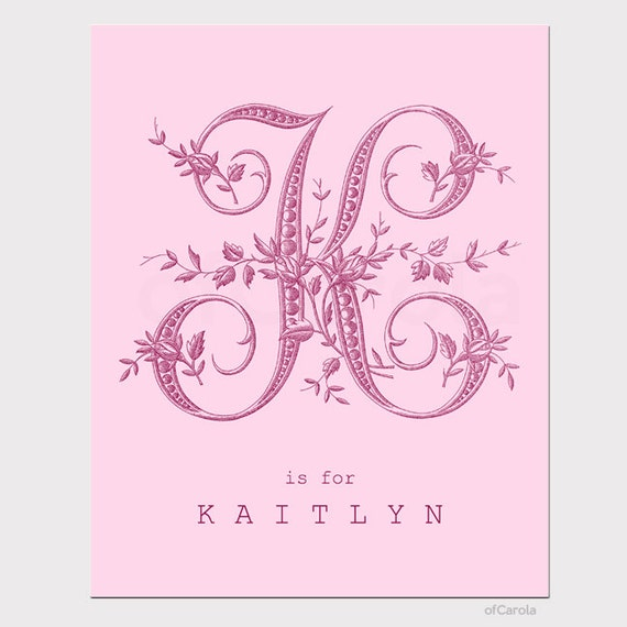 Etsy Initial Wall Decor : Items similar to monogram initial letter print wall art
