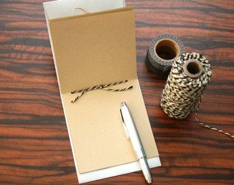 Handmade Mini Notebook: Button & String Envelope Pocket Travel Scrapbook Memo Pad Jotter - Silver Metallic Single Pocket Cover - Twine
