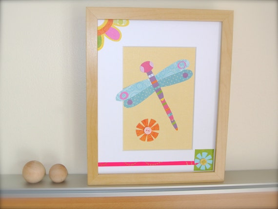 Dragonfly Nursery Wall Decor : Dragonfly wall art spring nursery decor