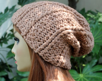 Hand Knit, 100 Percent Organic Cotton, Soft, Nubby, Rib Knit, Slouchy, Beanie Hat for Women or Men, Fall Winter Back to School