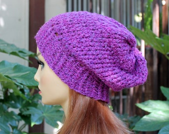 Hand Knit, Plum Purple, Slouchy, Over Sized, Acrylic, Beanie Hat with Four Inch Headband, for Women or men, Fall, Winter, Back to School
