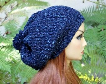 Hand Knit, Wool/Acrylic, Dark Teal with Light Aqua Flecks, Slouchy, Over Sized, Beanie Hat Two-Inch Headband Small Pom Pom Women Men