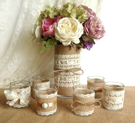 Burlap Ideas For Wedding: Burlap And Lace Covered Votive Tea Candles And Vase By