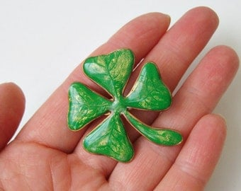 St Patricks Day gift Four Leaf Clover Lucky Brooch
