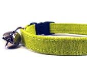 Cat Collar, LIME, Small Dog Collar, Handmade