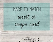 Matching insert card OR recipe card design - Printable file