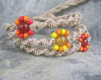 Flower Macrame Bracelet, Red Orange and Yellow Blossom, Adjustable Hemp Jewelry, Stacking Bracelet, Nature Jewelry, Spring, READY To SHIP
