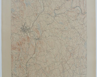 Fine CONNECTICUT, Danbury & Detailed Surrounding Areas Antique Rare 1912 US Geological Survey Topographic Map