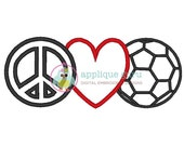 Peace Love and Soccer Applique -- Machine Embroidery Design