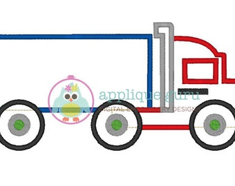 Semi Truck Applique -- Machine Embroidery Design