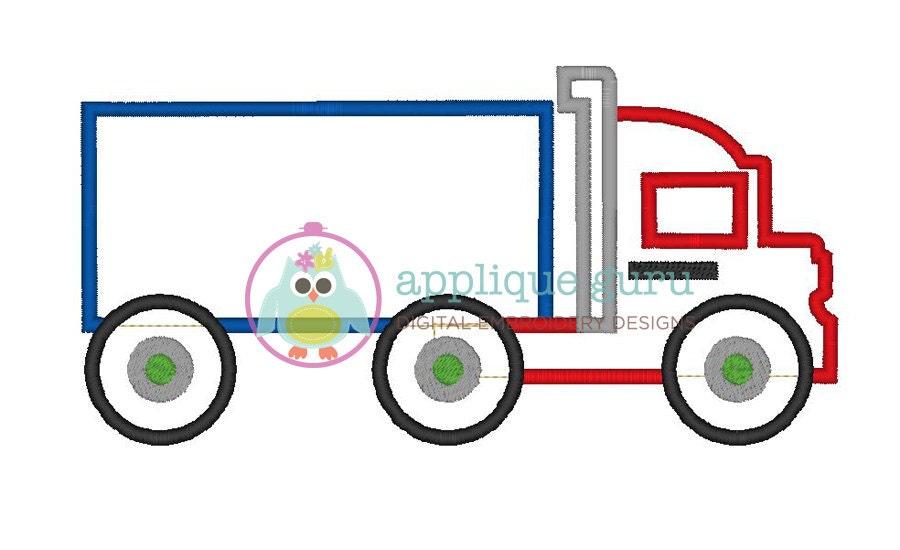Semi truck applique machine embroidery design