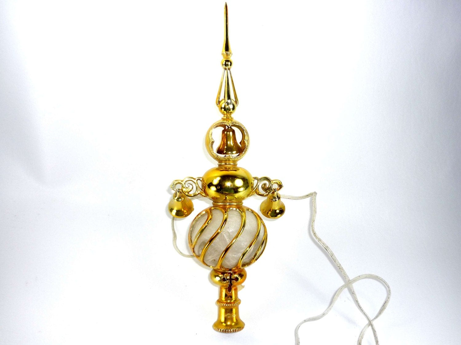 Vintage Lighted Christmas Tree Topper Gold Carillon Spire